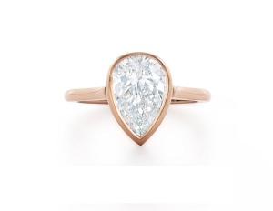 Beautiful Bezel Engagement Rings - Rose Pear