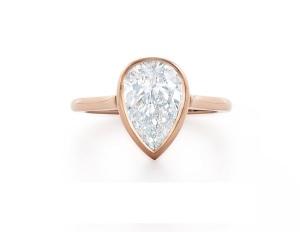 Beautiful Bezel Engagement Rings - Rose Pear