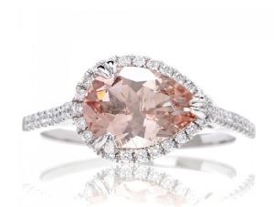 Elegant East West Engagement Rings - Morganite Pear