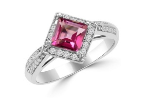 Elegant East West Engagement Rings - Pink Princess