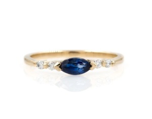 Elegant East West Engagement Rings - Sapphire Marquise