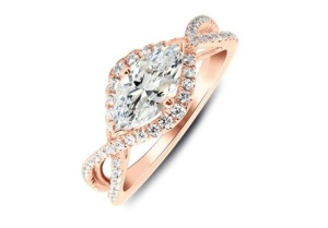 Elegant East West Engagement Rings - Twisted Marquise