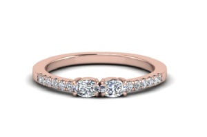 Elegant East West Engagement Rings - Two Stone