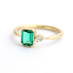 Birthstone Engagement Rings – Elegant Emerald - Asymmetrical Side Stone