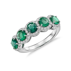 Birthstone Engagement Rings – Elegant Emerald - Five Stone Halo