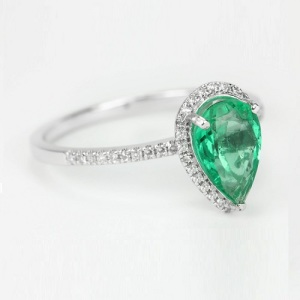 Birthstone Engagement Rings – Elegant Emerald - Halo Pave Pear