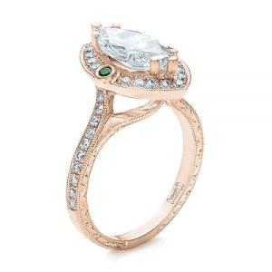 Birthstone Engagement Rings – Elegant Emerald - Intricate Side Profile