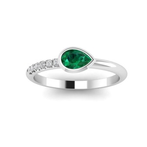 Birthstone Engagement Rings – Elegant Emerald - Platinum Pear Pave