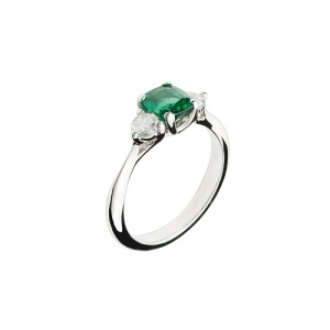 Birthstone Engagement Rings – Elegant Emerald - Platinum Three Stone