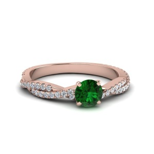 Birthstone Engagement Rings – Elegant Emerald - Twisted Pave Band