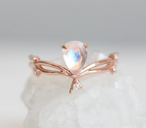 Magical Moonstone Engagement Rings - Branch Teardrop