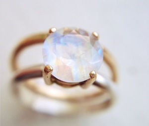 Magical Moonstone Engagement Rings - Double Band