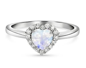 Magical Moonstone Engagement Rings Pave Heart