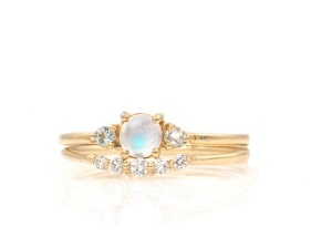 Magical Moonstone Engagement Rings - Ring Set