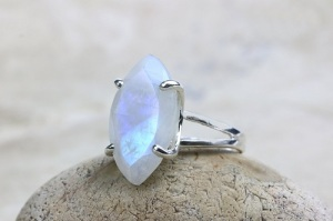 Magical Moonstone Engagement Rings - Split Band