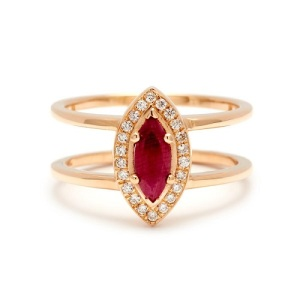 Romantic Ruby Engagement Rings - Double Band Marquise