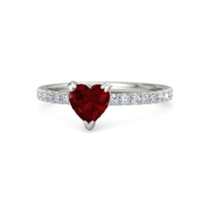 Romantic Ruby Engagement Rings - Minimal Heart