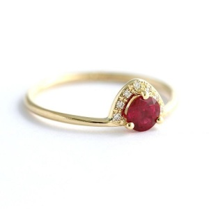 Romantic Ruby Engagement Rings - Pave Crown