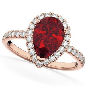 Romantic Ruby Engagement Rings - Pear Cut Pave