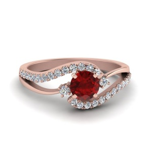 Romantic Ruby Engagement Rings - Split Band Pave