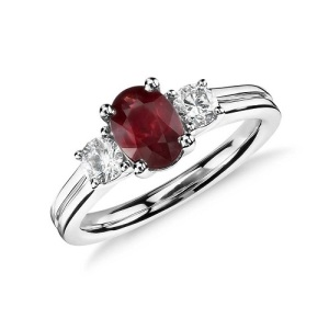 Romantic Ruby Engagement Rings - Three Stone