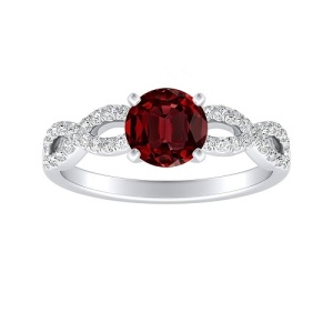 Romantic Ruby Engagement Rings - Twisted Band