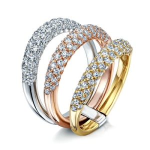 Dramatic Engagement Rings - Three Layers
