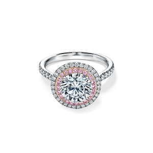 Rosy Engagement Rings for the Romantic Bride - Pink Diamond Halo