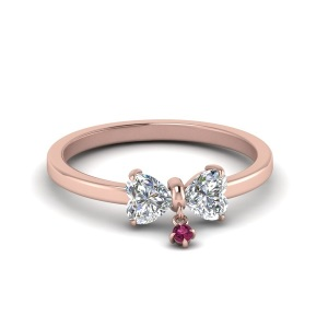 Rosy Engagement Rings for the Romantic Bride - Two Heart Drop