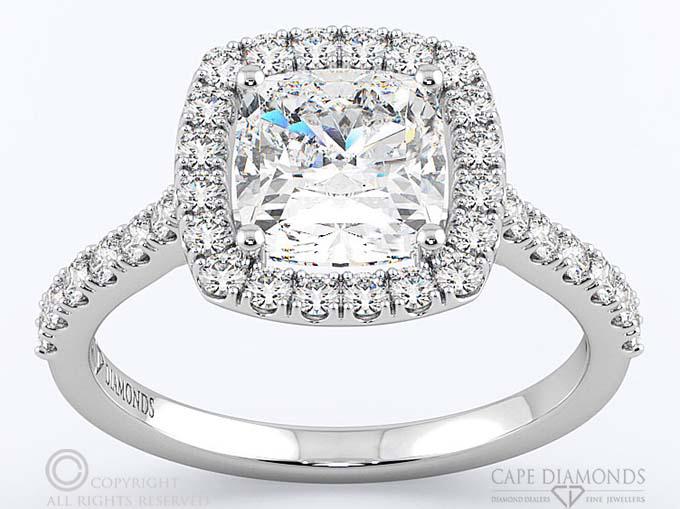 40 Cushion Cut Diamond Halo Setting Cape Diamonds