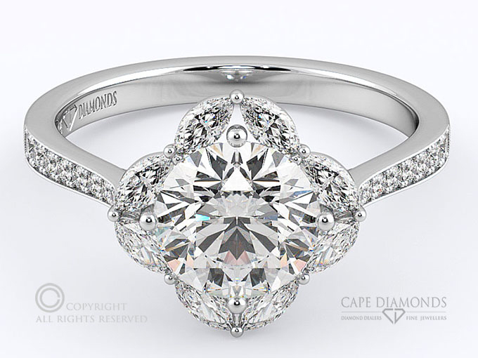 57 Halo Engagement Ring With 8 Marquise Small Diamonds Cape Diamonds