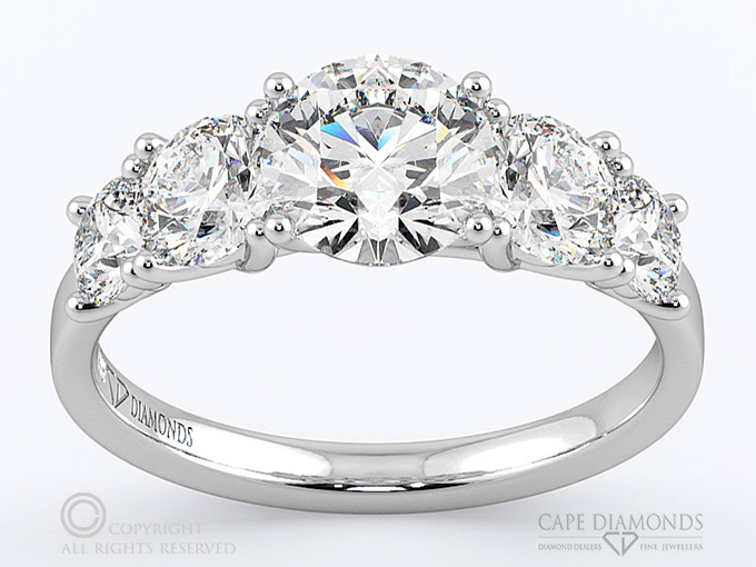 in diamond engagement trellis five rings ctw ring carat white gold