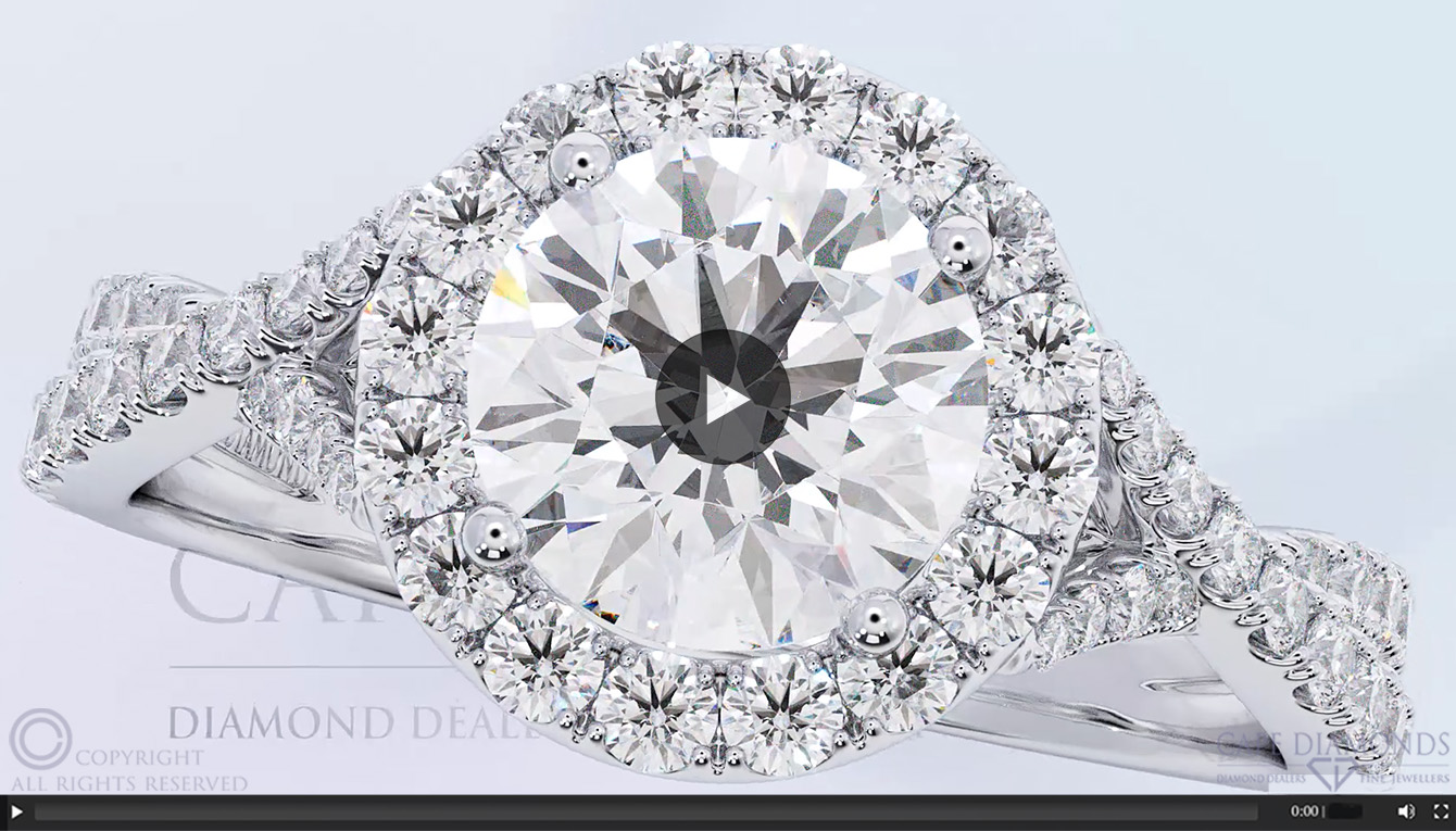 54 Twisted Split Band Halo Engagement Ring Cape Diamonds