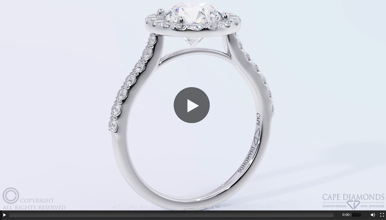 68 Flawless Floating Diamond Encrusted Halo Engagement