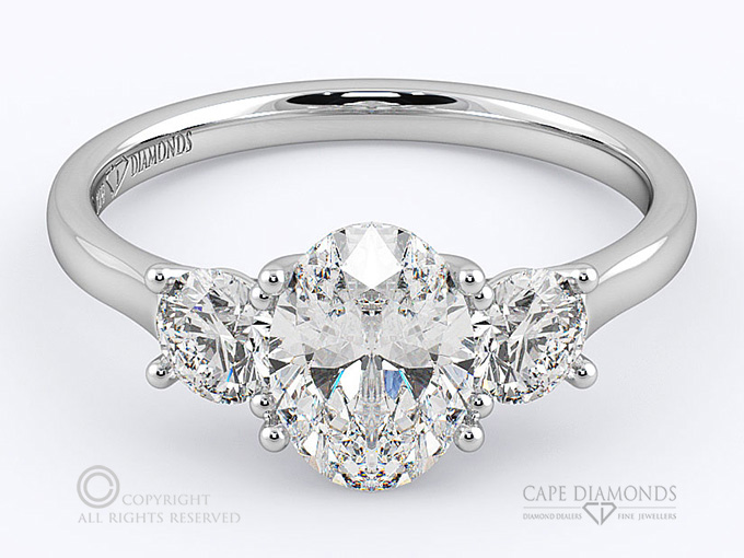 d02b092c42264 Trilogy Oval Diamond Engagement Ring in Platinum or White Gold ...