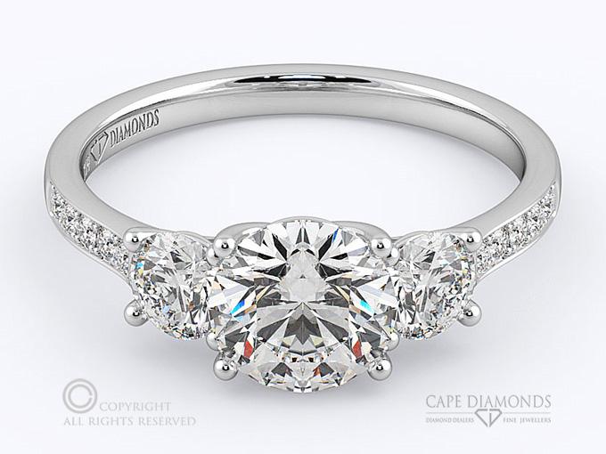 147 Round Diamond Trilogy 3 Stone Pave Set 3 Stone Diamond