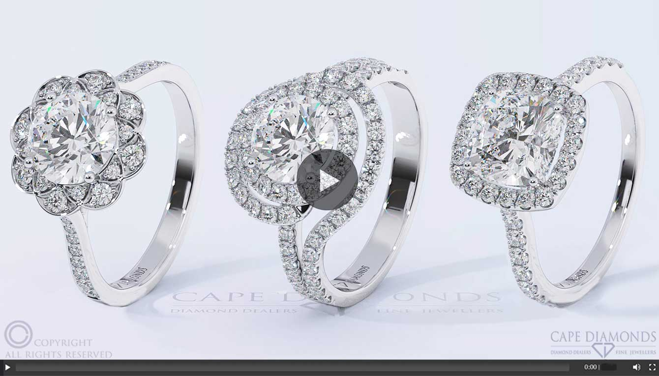 Halo Engagement Wedding Ring Collection Cape Diamonds