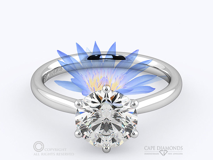 74e4948d1b7d3 187. WATER LILY SOLITAIRE ENGAGEMENT RING – IN PLATINUM OR WHITE ...