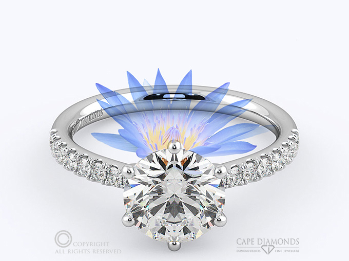 f537e82f297 188. WATER LILY SOLITAIRE ENGAGEMENT RING – IN PLATINUM OR WHITE ...