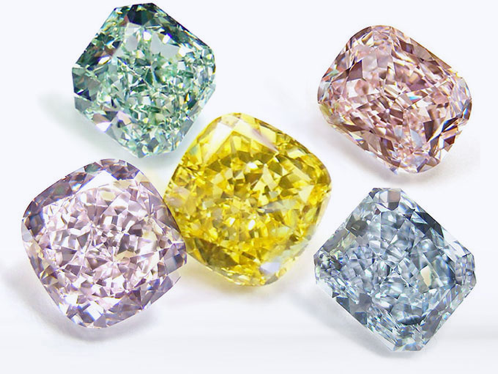 Diamonds: Green, Pink, Yellow, Blue